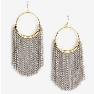 mixed metal chain fringe earrings
